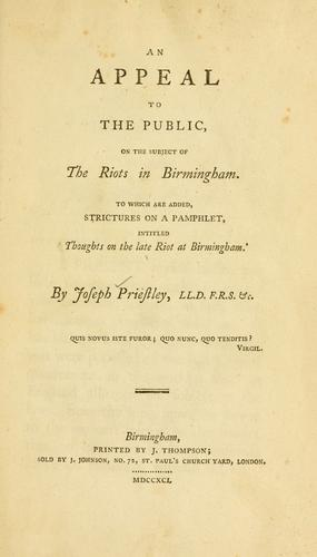 Download An appeal to the public, on the subject of the riots in Birmingham.