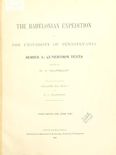 Download The Babylonian Expedition of the University of Pennsylvania. Series A: Cuneiform texts