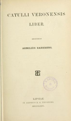 Download Catulli Veronensis liber.