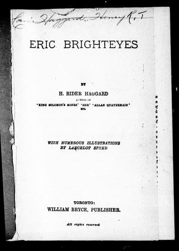 Eric Brighteyes by H. Rider Haggard