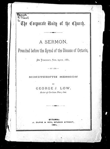 The corporate unity of the church by G. J. Low