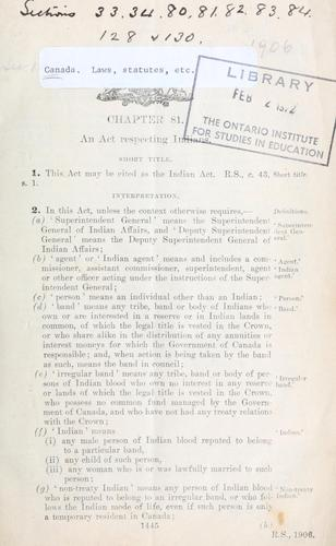 Indian Act by Canada