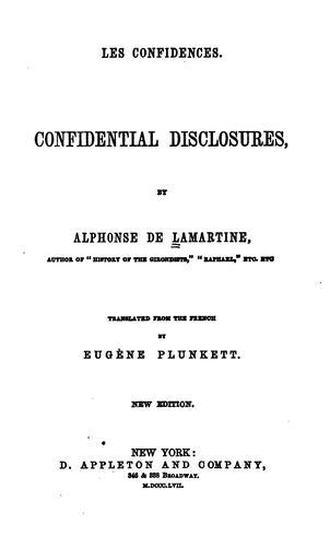 Les Confidences: Confidential Disclosures by Alphonse de Lamartine