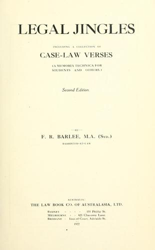 Legal jingles by Frederick Rudolph Barlee