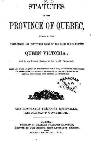 Statutes of the Province of Quebec by Québec (Province)