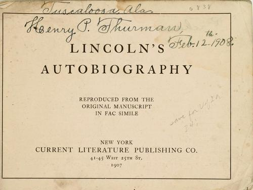 Lincoln's autobiography by Abraham Lincoln