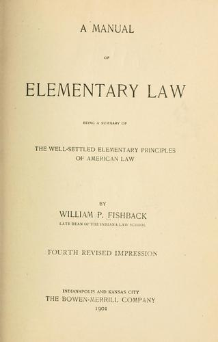 A manual of elementary law