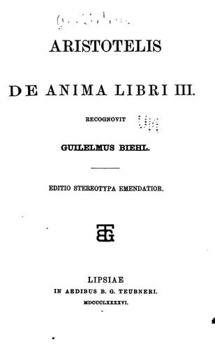 De anima libri III by Henry Fielding