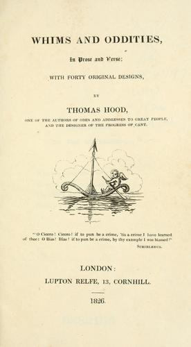 Whims and oddities by Thomas Hood