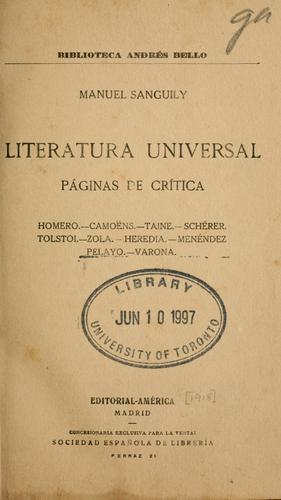 Literatura universal by Manuel Sanguily