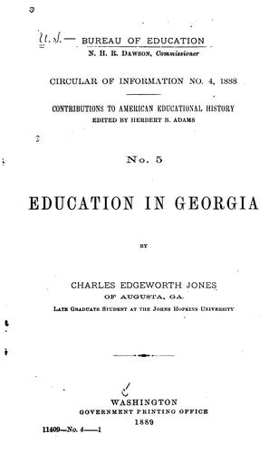 Education in Georgia by Charles Edgeworth Jones