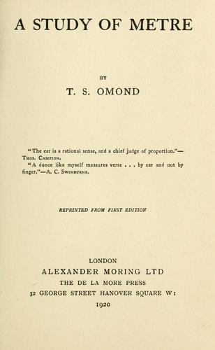 A study of metre by T. S. Omond